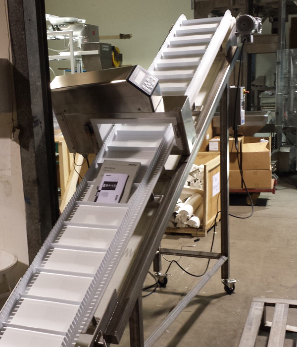 Custom Packaging Machinery Fabrication | Incline Conveyor | Right Stuff Equipment Denver Colorado USA